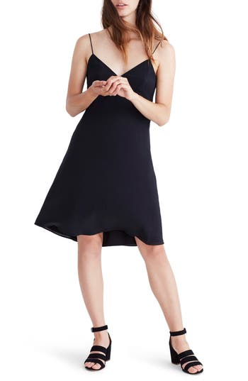 Women's Madewell Tie Back Slipdress, Size 00 - Black