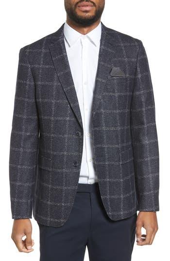 Men's Sand Trim Fit Windowpane Wool Blend Sport Coat