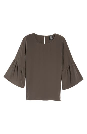Women's Bobeau Bell Sleeve Blouse, Size X-Small - Brown
