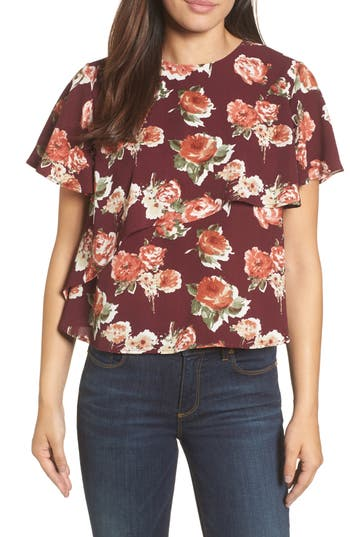 Women's Halogen Layered Floral Top, Size X-Small - Burgundy