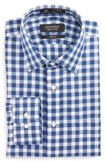 Men's Nordstrom Men's Shop Smartcare(TM) Trim Fit Check Dress Shirt, Size 17.5 32/33 - Blue