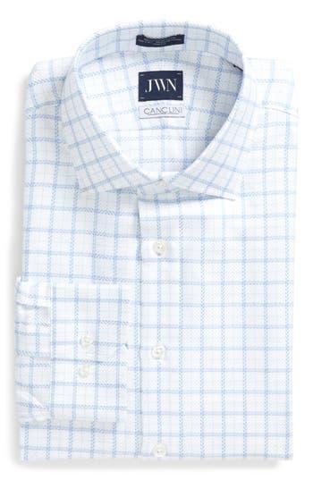 Men's Big & Tall John W. Nordstrom Trim Fit Windowpane Dress Shirt, Size 16 36/37 - Blue