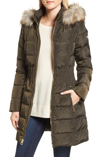 Laundry By Shelli Segal Hooded Quilted Jacket With Faux Fur Trim, Green