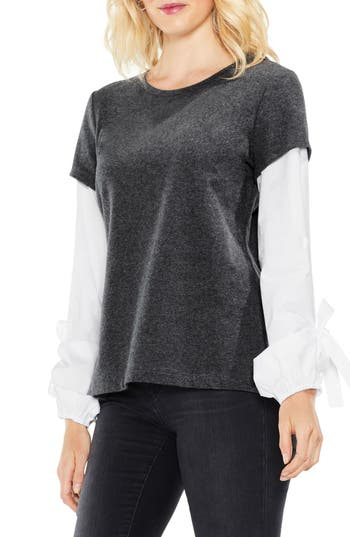 Women's Two By Vince Camuto Bubble Sleeve Mix Media Top, Size X-Small - Grey
