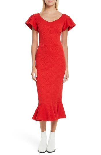 Opening Ceremony Lotus Jacquard Medallion Dress, Red
