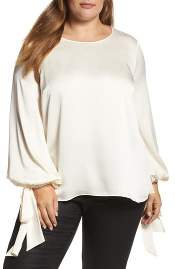 Plus Size Women's Vince Camuto Tie Cuff Bubble Sleeve Blouse, Size 1X - Ivory