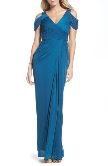 1930s Style Fashion Dresses Womens Adrianna Papell Cold Shoulder Gown Size 6 - Blue $189.00 AT vintagedancer.com