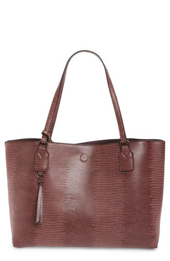 Street Level Snake Embossed Faux Leather Tote -