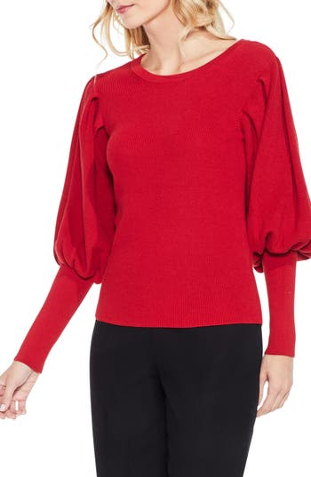 Women's Vince Camuto Bubble Sleeve Sweater, Size Small - Red
