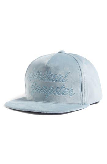 Women's Spiritual Gangster Logo Script Velvet Snapback Cap - Blue