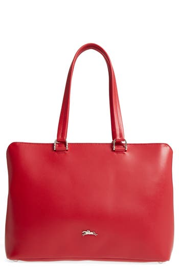 Longchamp Honoré 404 Leather Tote - Red