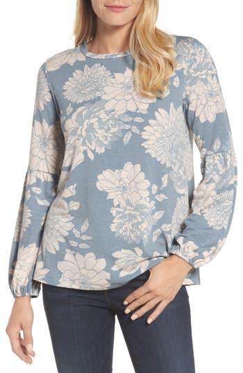 Women's Bobeau Floral Print Balloon Sleeve Sweatshirt, Size Small - Blue