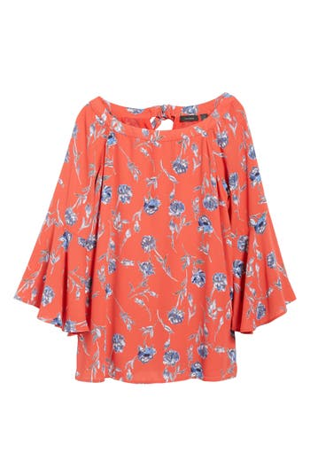 Women's Halogen Bell Sleeve Print Blouse, Size XX-Large - Red