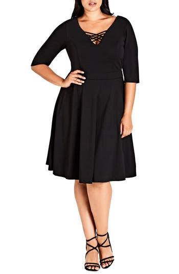 Plus Size City Chic X Front Skater Dress, Black