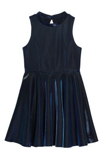 Girl's Zunie Iridescent Techno Skater Dress
