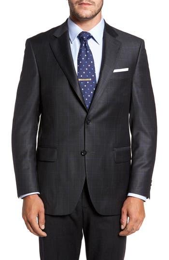 Men's Peter Millar Classic Fit Windowpane Wool Sport Coat, Size 40R EU - Black