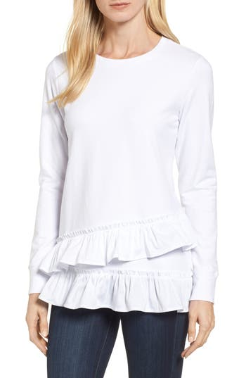 Women's Bobeau Poplin Ruffle Trim Sweatshirt, Size Small - White