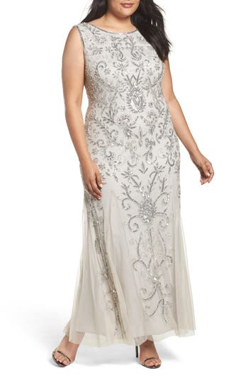 Vintage Inspired Wedding Dresses Plus Size Womens Pisarro Nights Embellished Godet Gown $228.00 AT vintagedancer.com