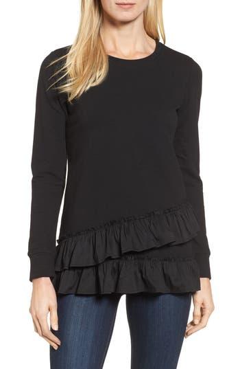 Women's Bobeau Poplin Ruffle Trim Sweatshirt, Size X-Small - Black