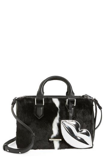 Kendall + Kylie Claire Faux Fur & Leather Satchel - Black