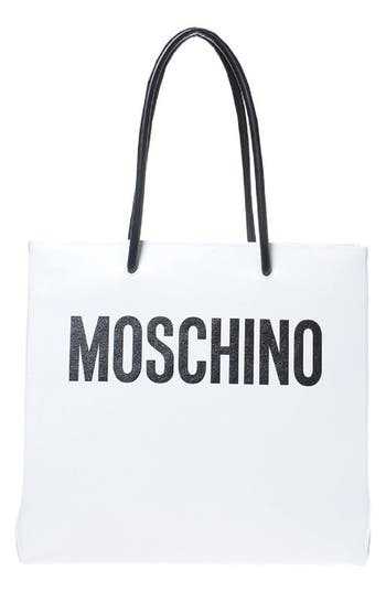 Moschino Large Logo Transformers Print Leather Tote - White