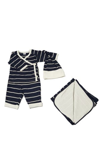 Infant Boy's Baby Grey T-Shirt, Pants, Hat & Blanket Set