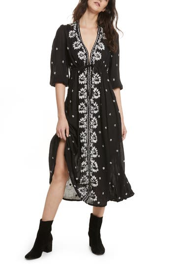 Free People Embroidered Maxi Dress, Black