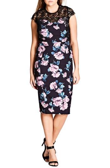 Plus Size Women's City Chic Vintage Rose Lace Yoke Sheath Dress