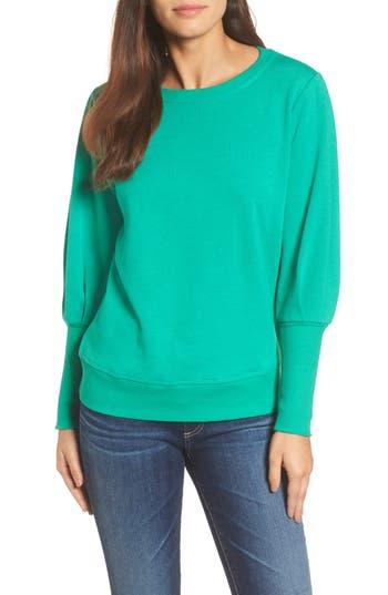 Women's Halogen Blouson Sleeve Sweatshirt, Size X-Small - Green