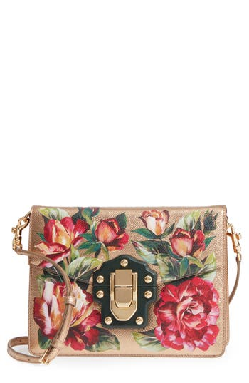 Dolce & gabbana Small Lucia Floral Metallic Leather Crossbody Bag - Pink