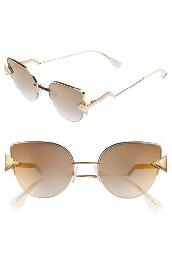 Women's Fendi Rainbow 52Mm Semi-Rimless Sunglasses - Rose Gold