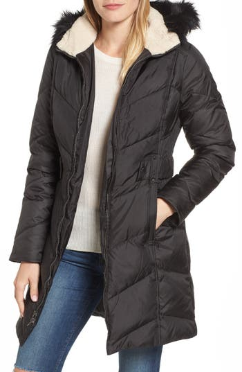Larry Levine Hooded Down & Feather Fill Jacket With Faux Fur Trim, Black