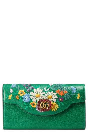 Women's Gucci Ricamo Fiori Floral Embroidered Continental Wallet - Green
