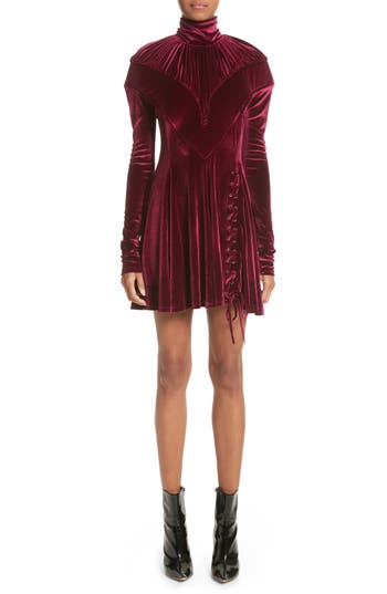 Women's Y/project Tie Hem Velvet Minidress, Size 4 US / 36 FR - Burgundy