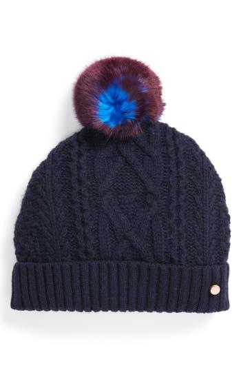 Women's Ted Baker London Cable Knit Faux Fur Pompom Beanie - Blue