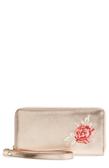 Omg Embroidered Metallic Wallet - Metallic