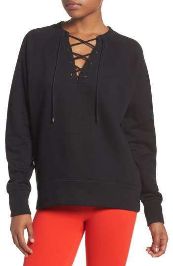Women's Zella Lace-Up Pullover, Size X-Small - Black
