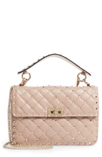 Valentino Garavani Medium Rockstud Matelassé Quilted Leather Shoulder Bag - Pink