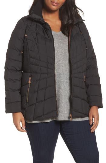 Plus Size Bernardo Packable Water Resistant Down & Primaloft Coat, Black