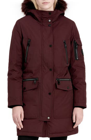 Women's Calvin Klein Expedition Hooded Down Parka With Faux Fur Trim, Size X-Small - Red