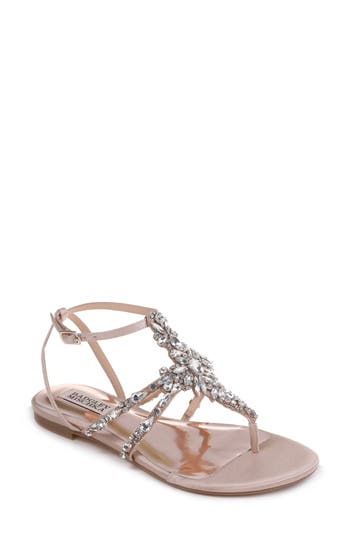 Badgley Mischka Hampden Crystal Embellished Sandal, Beige