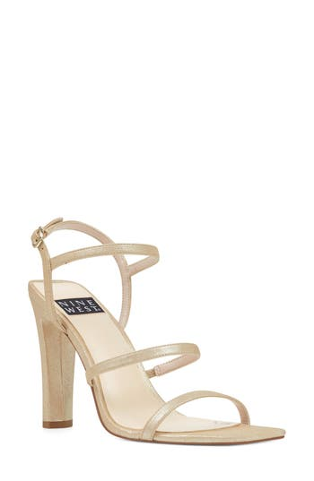 Women's Nine West Gabelle - 40Th Anniversary Capsule Collection Sandal, Size 9.5 M - Metallic