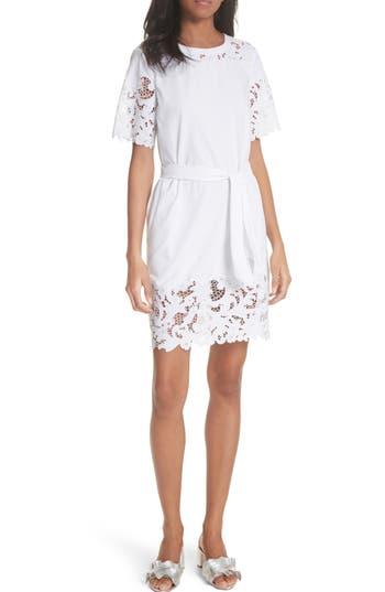 La Vie Rebecca Taylor Embroidered Jersey Dress, White