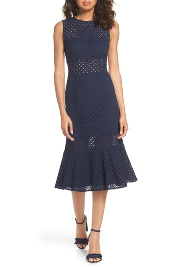 13e2c0088043 Nsr Taylor Eyelet Midi Dress In Navy | ModeSens