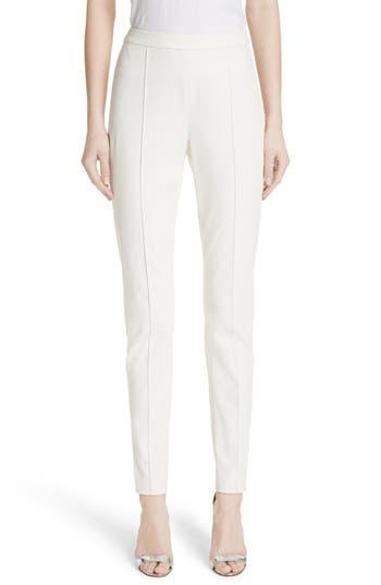 St. John Collection Fine Stretch Twill Leggings, White