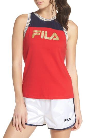 ff5ca6aa9c9157 Fila Yolanda Mesh-Inset Racerback Tank In Red