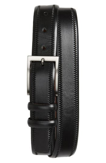 Torino Belts Embossed Leather Belt, Black