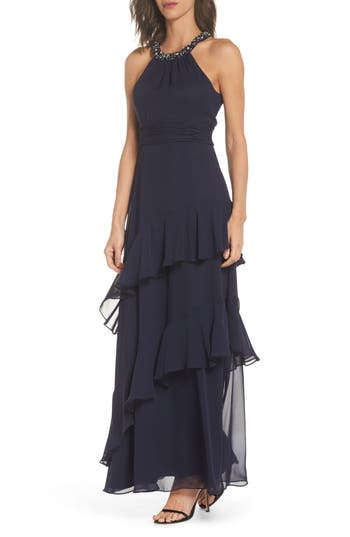 Eliza J Beaded Halter Tiered Chiffon Gown