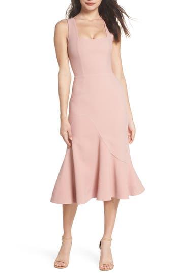 1930s Style Dresses | 30s Art Deco Dress Womens Dress The Population Monica Tea Length Trumpet Dress Size X-Large - Pink $218.00 AT vintagedancer.com