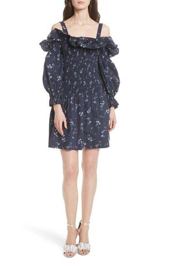 Rebecca Taylor Francine Cold Shoulder Dress, Blue